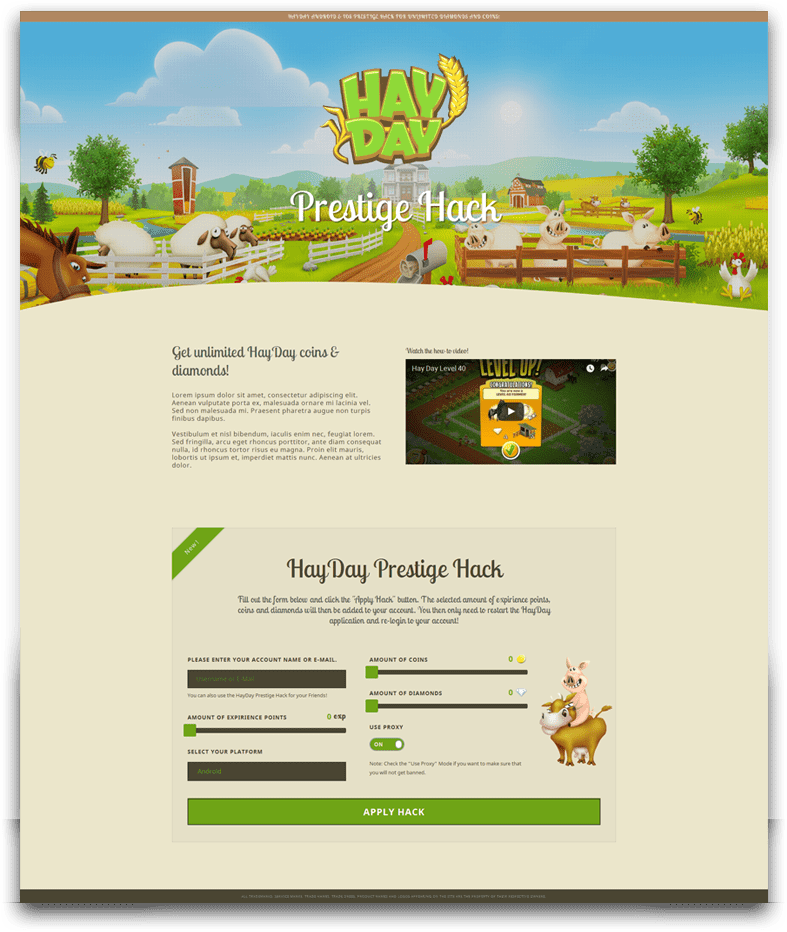 HayDay - CPA Marketing Landing Page | Marketing Rhino